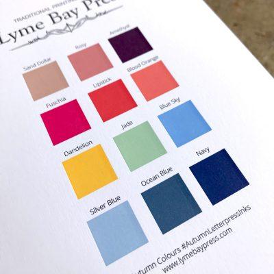 Autumn Letterpress Ink Colours