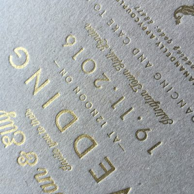 Example of gold letterpress bronzing