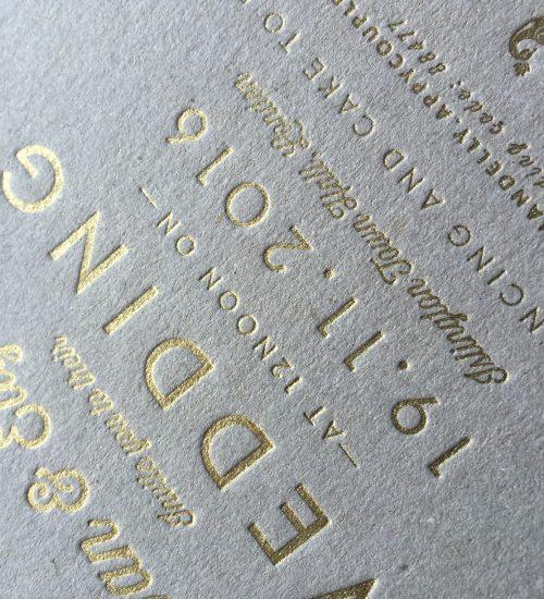 Example of gold letterpress bronzing