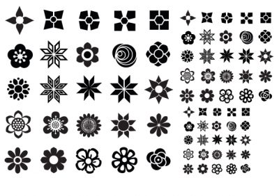 Letterpress Flower icons